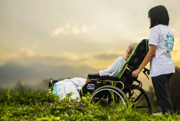 A senior in a wheelchair and her guardian look at the landscape